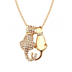 COLLIER DUO CHATS SWAROVSKI ELEMENTS